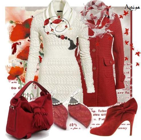 ملابس الشتاء مزيج من السمني والاحمر
